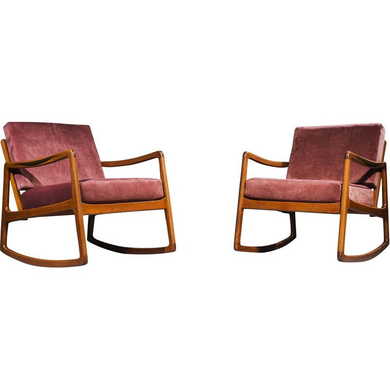 "Pair of vintage teak ""Senator"" rocking chairs by Ole Wanscher for France & Daverkosen, 1951"