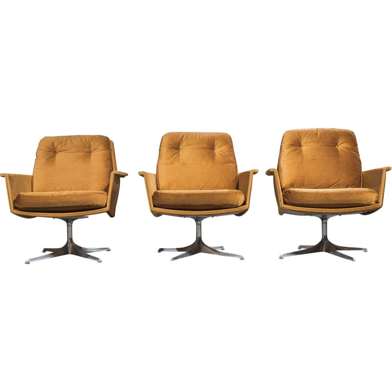 "Set of 4 vintage ""Sedia"" armchairs & ottoman by Horst Brüning for Cor, 1966"