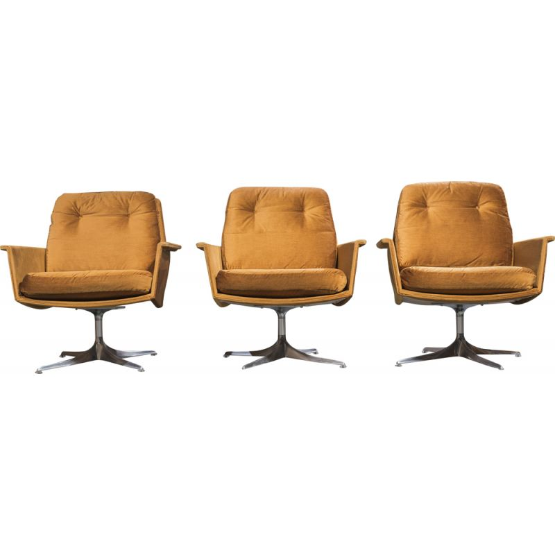 """Set of 4 vintage """"Sedia"""" armchairs & ottoman by Horst Brüning for Cor, 1966"""