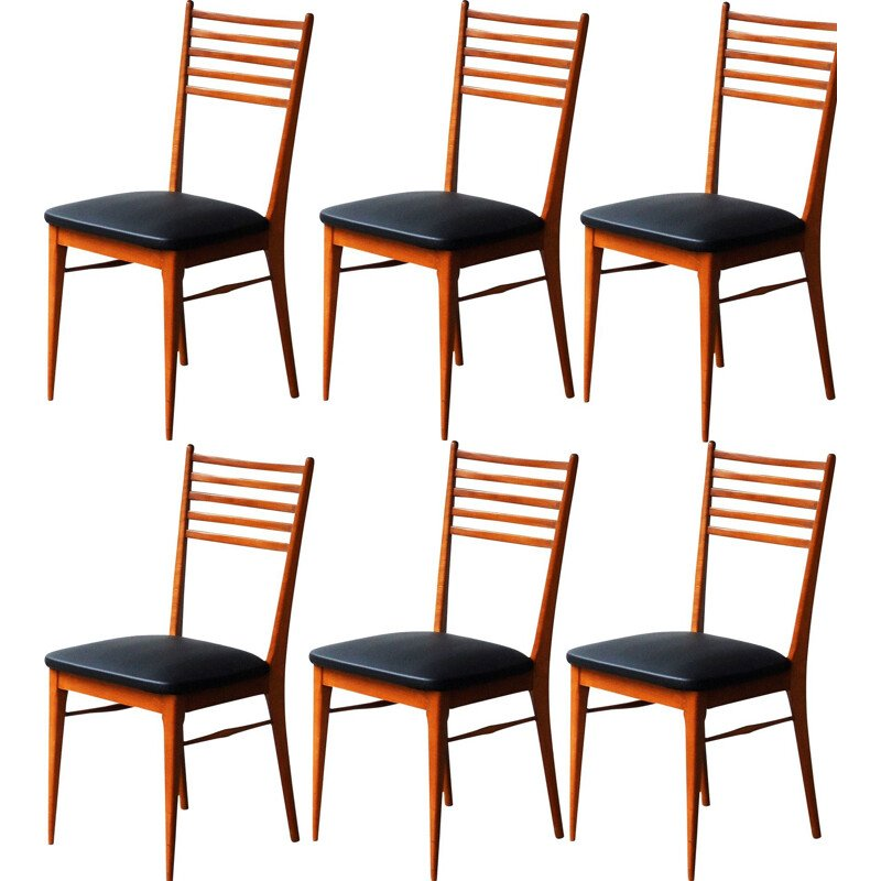 Set of 6 vintage beech dining chairs, 195s0