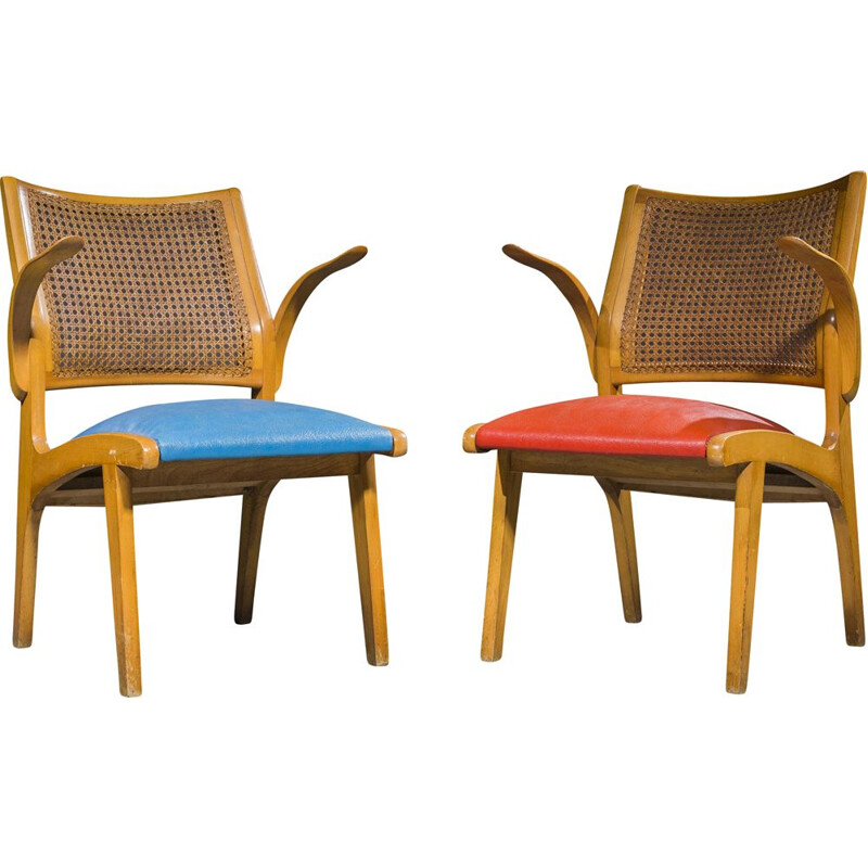 Pair of Swedish wicker & oak chairs by Bengt Akerblom, 1950s