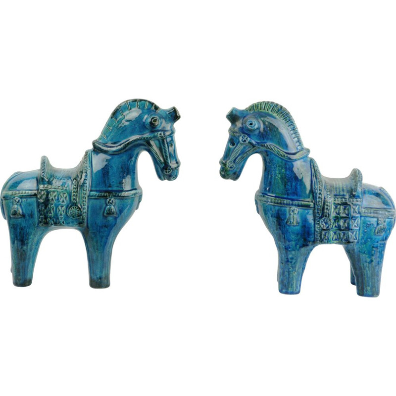 Pair of vintage Rimini blue horses by Aldo Londi, 1960