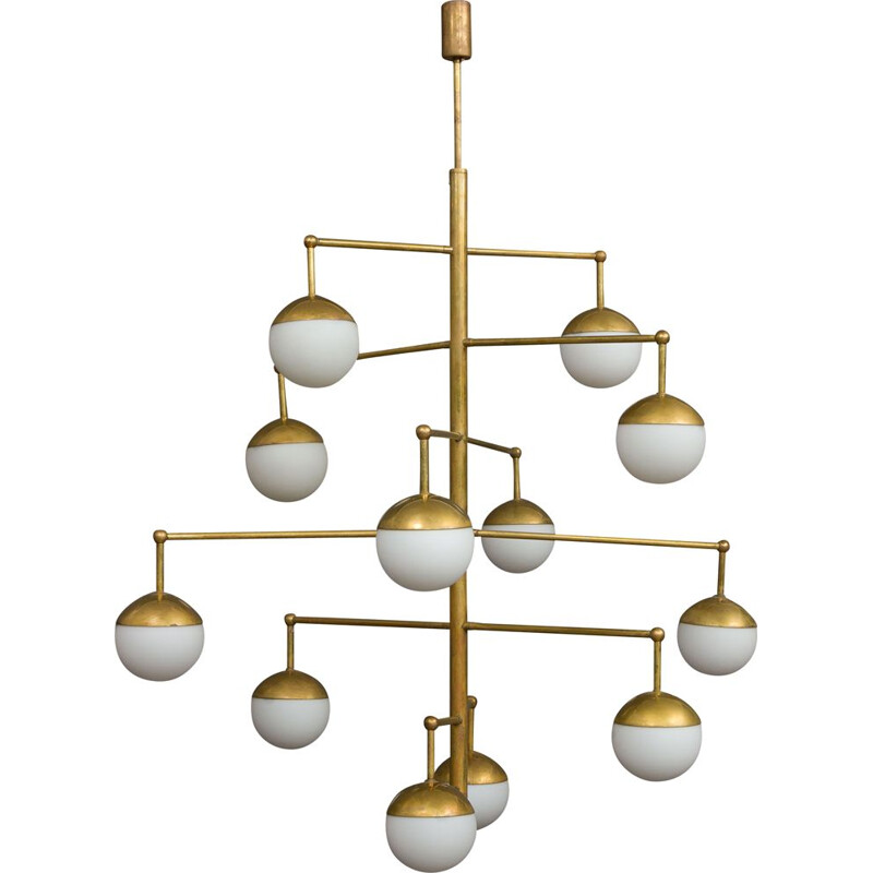 Vintage brass chandelier, Italy, 1970s