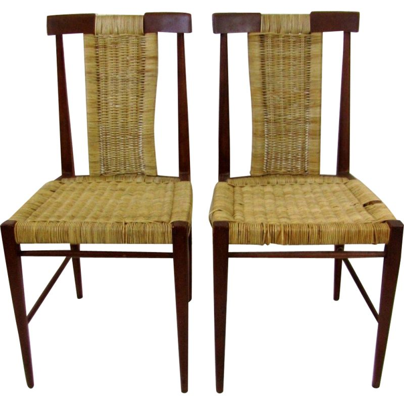 Set of 2 vintage dining chairs in wood and wicker, 1960s