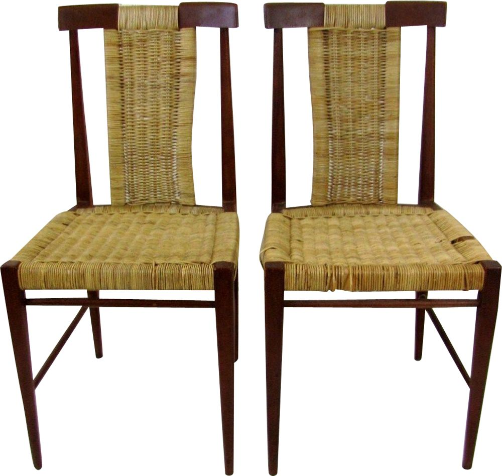 Set of 2 vintage dining chairs in wood and wicker, 1960s Design Market