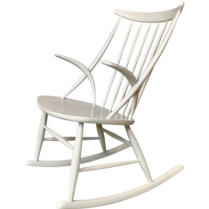 Vintage Gyngestol n3 rocking chair by Illum Wikkelsø for Niels Eilersen, 1950s