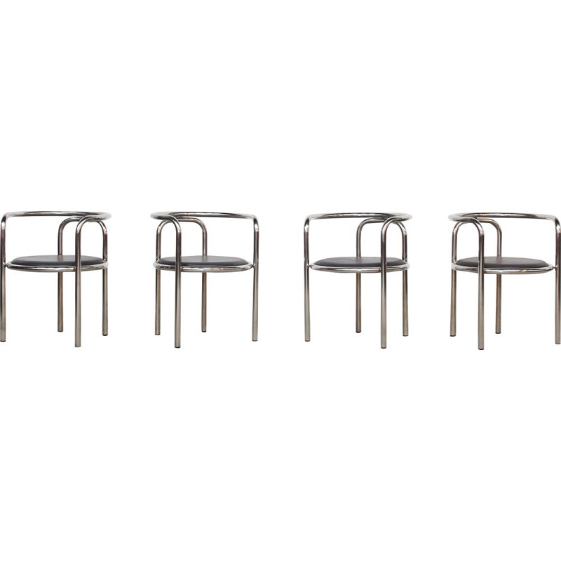 Set of 4 vintage dining chairs by Gae Aulenti for Poltronova, 1960s