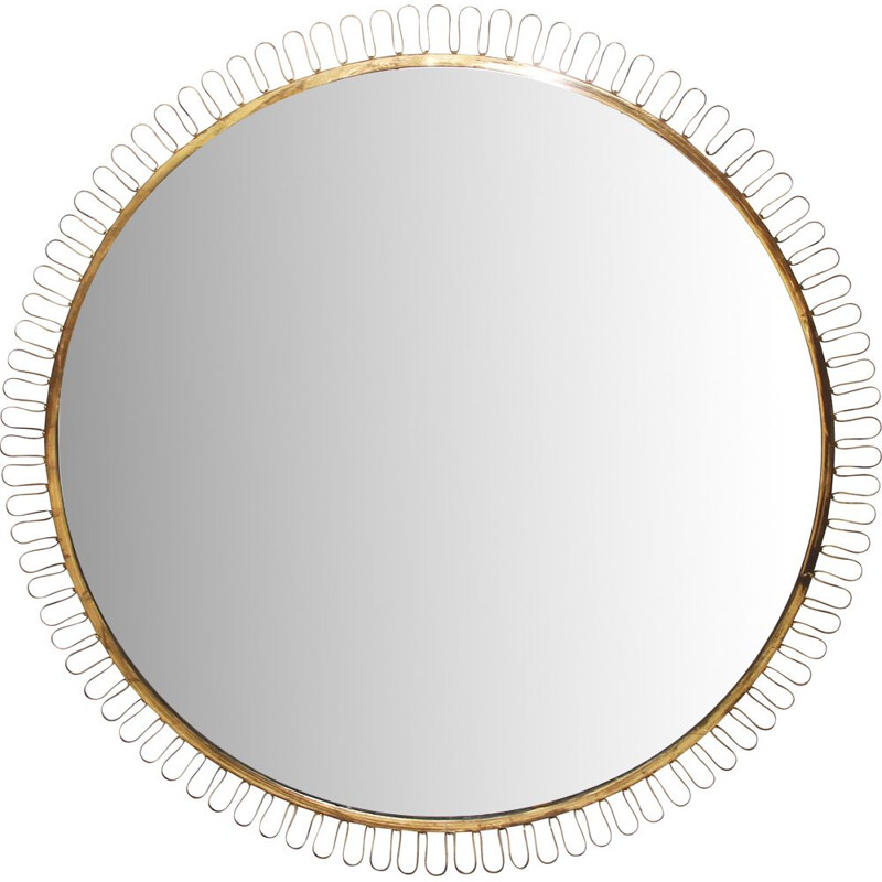 Vintage round wall mirror attr. to Josef Frank for Svenkt Tenn, Sweden, 1940s