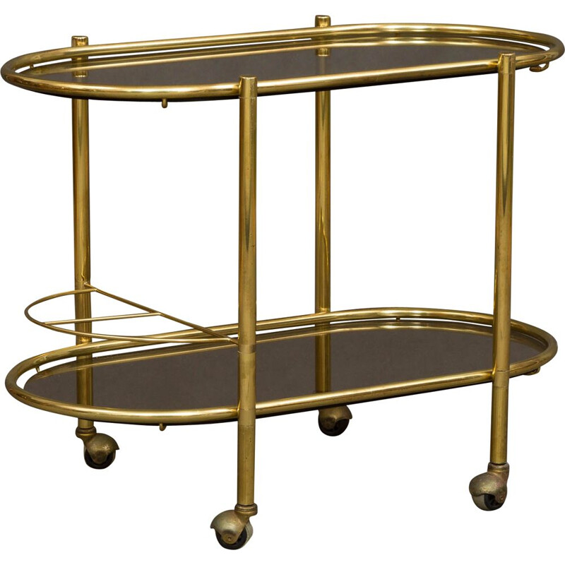 Italian brass vintage bar trolley, 1960s