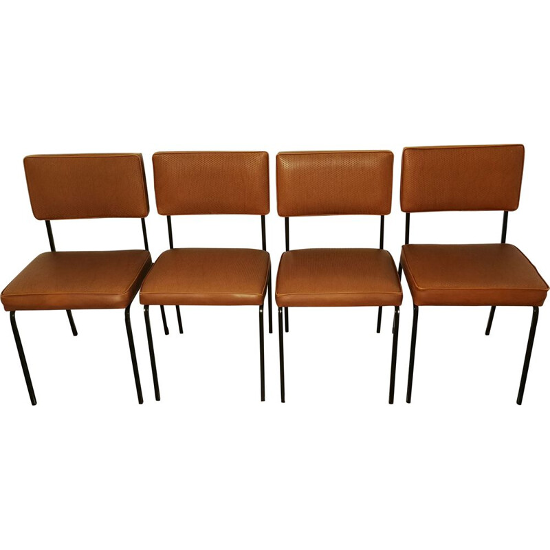 Set of 4 vintage chairs by Cubacier, 1950s