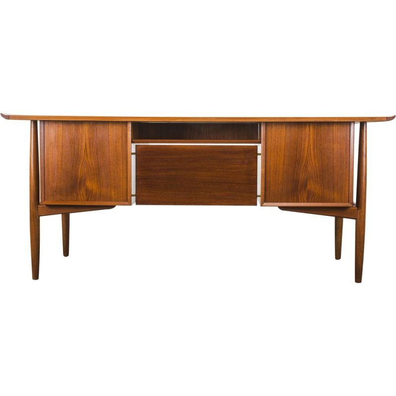 Teak vintage desk by Arne Vodder for H.P. Hansen, 1950s