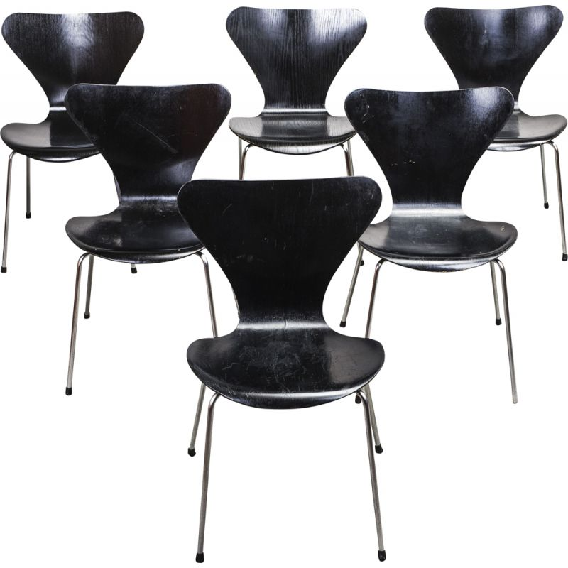 Set of 6 vintage 3107 chairs by Arne Jacobsen for Fritz Hansen, 1960s