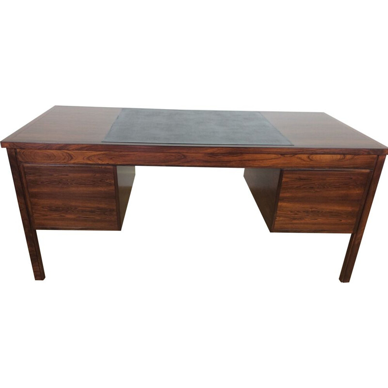 Vintage rosewood with leather desk, Denmark, 1960s