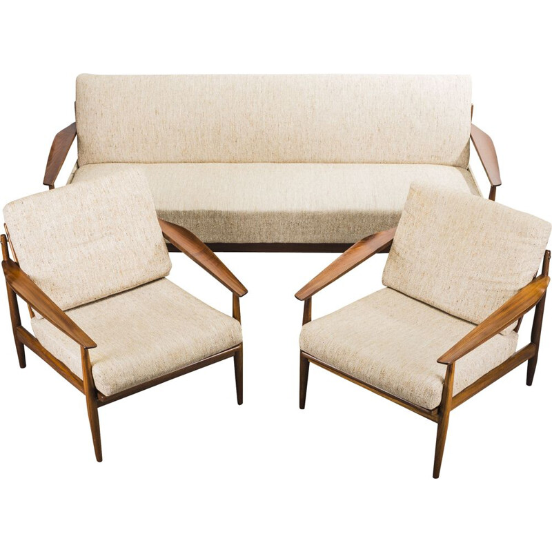 Vintage wool and Afromosia living room Set by Arne Vodder, 1960s