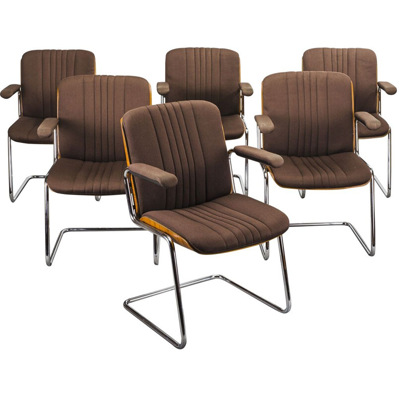 Set of 6 vintage wood and wool dining chairs by Martin Stoll for Karl Dittert, 1960s