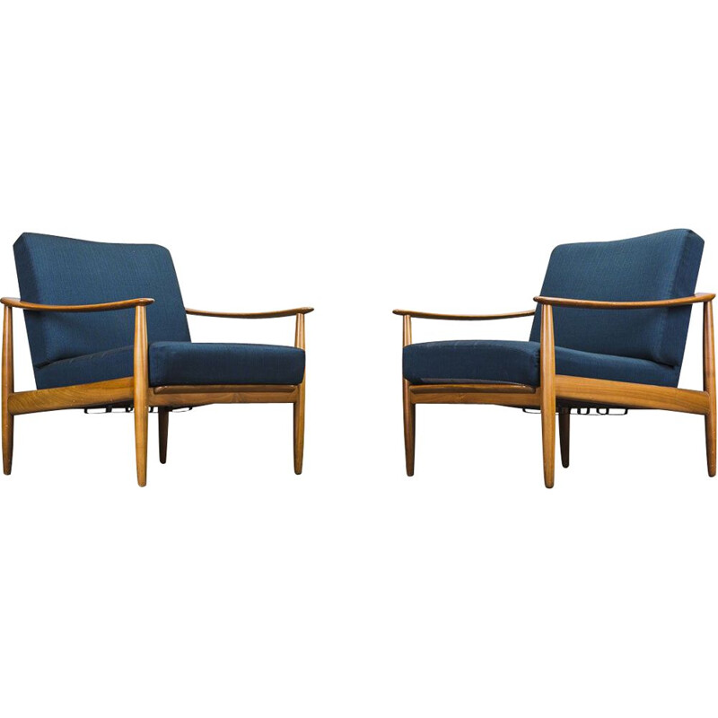 Set of 2 vintage beech armchairs by Walter Knoll, 1960s