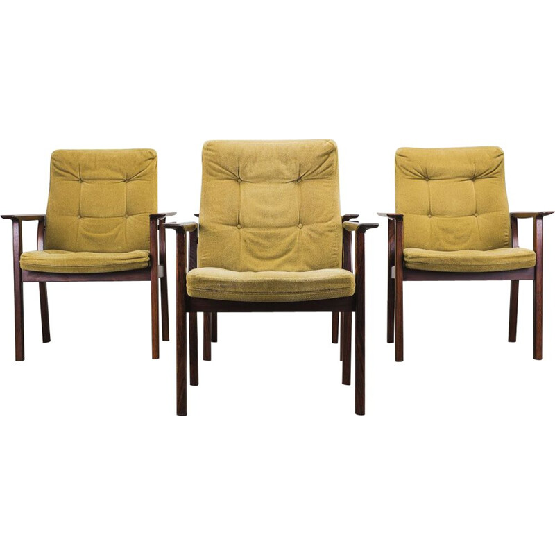 Set of 4 vintage rosewood Diplomat armchairs by Arne Vodder for Sibast, 1960s