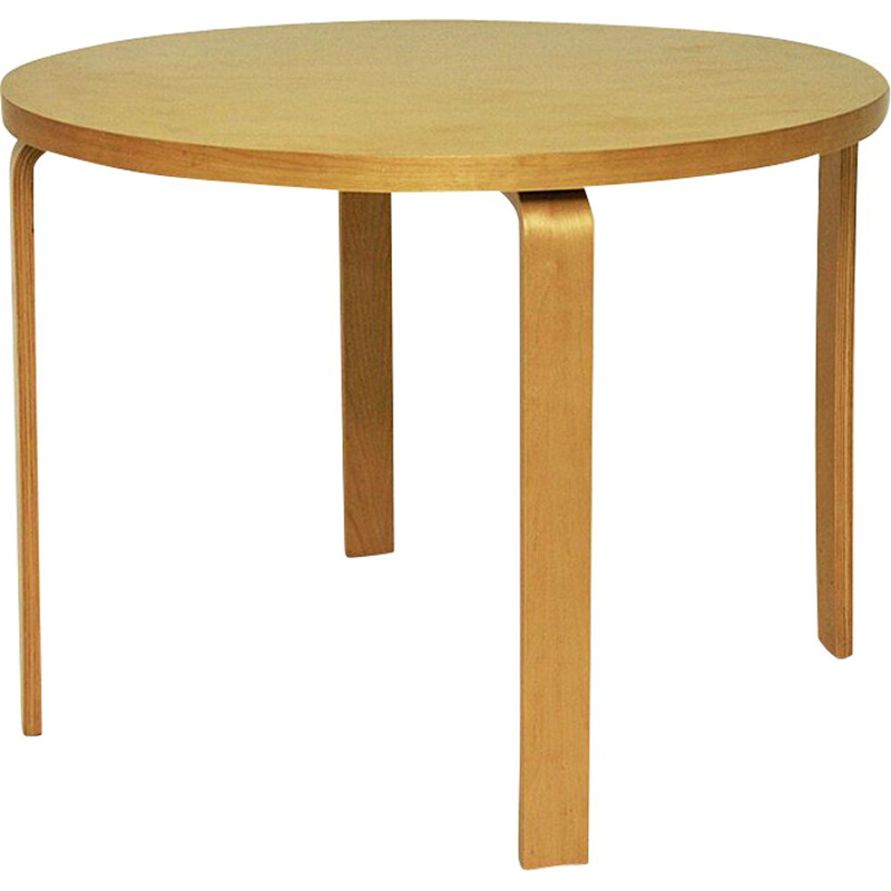 Vintage round wooden table by Alvaar Alto for Artek, 1935s