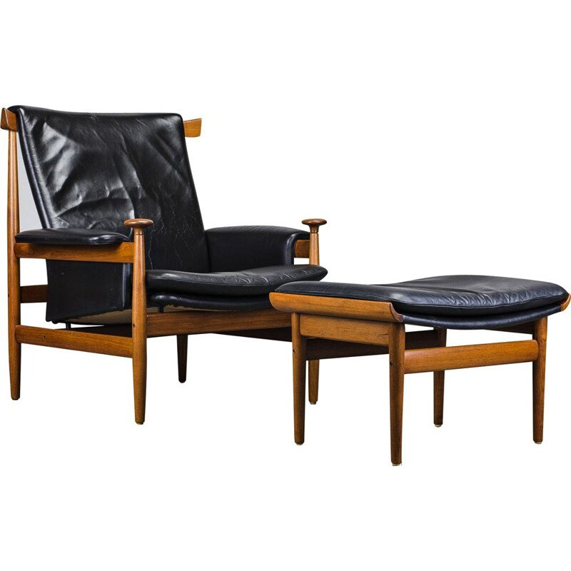 Vintage leather and teak armchair with Ottoman by Finn Juhl for France & Søn, 1950s
