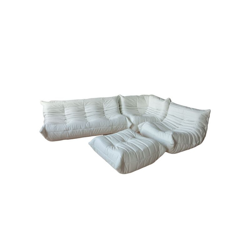 Vintage Togo white leather set by Michel Ducaroy for Ligne Roset