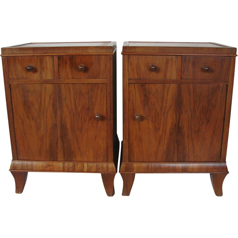 Set of 2 vintage walnut bed side tables by F.Meurer, 1930s