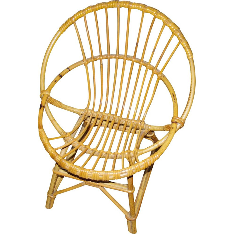 Vintage wicker children's chair, 1950s