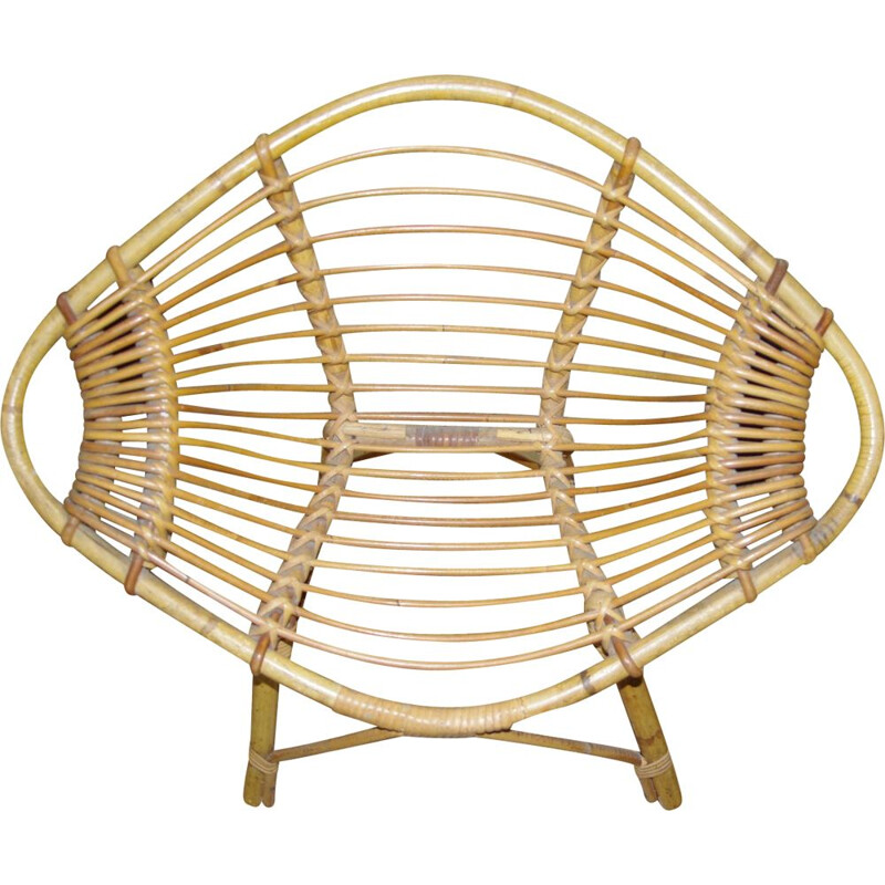 "Vintage ""Citron"" children's chair in wicker by J Rol and J Abraham"