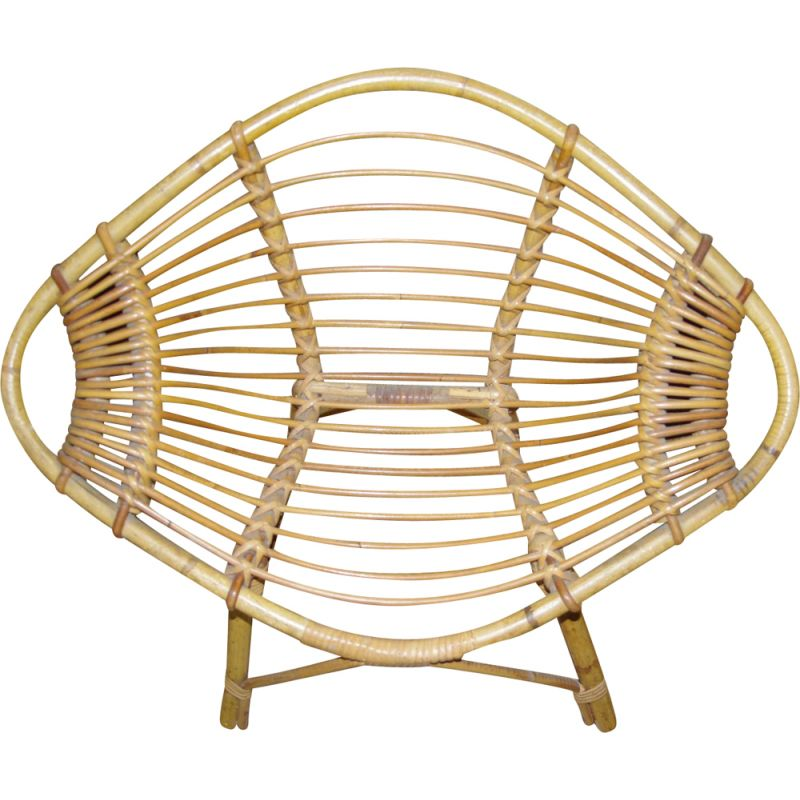 """Vintage """"Citron"""" children's chair in wicker by J Rol and J Abraham"""