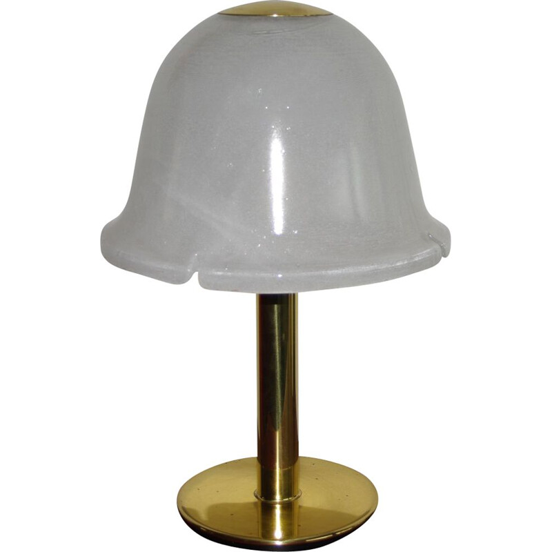 Vintage glass and brass table lamp by Limburg, Germany, 1970s