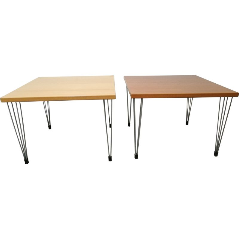 Set of 2 vintage wooden coffee tables, 1980s