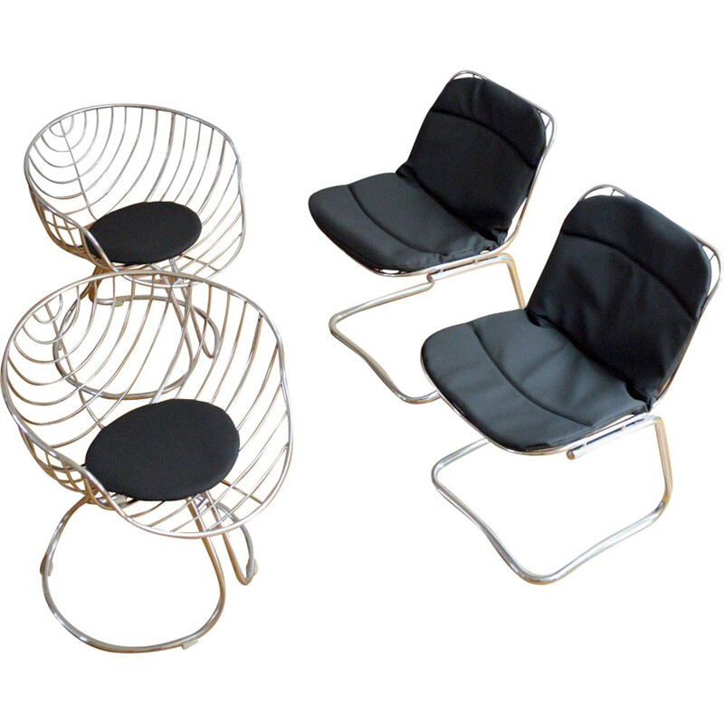 Set of 4 vintage chairs by Gastone Rinaldi, 1970s