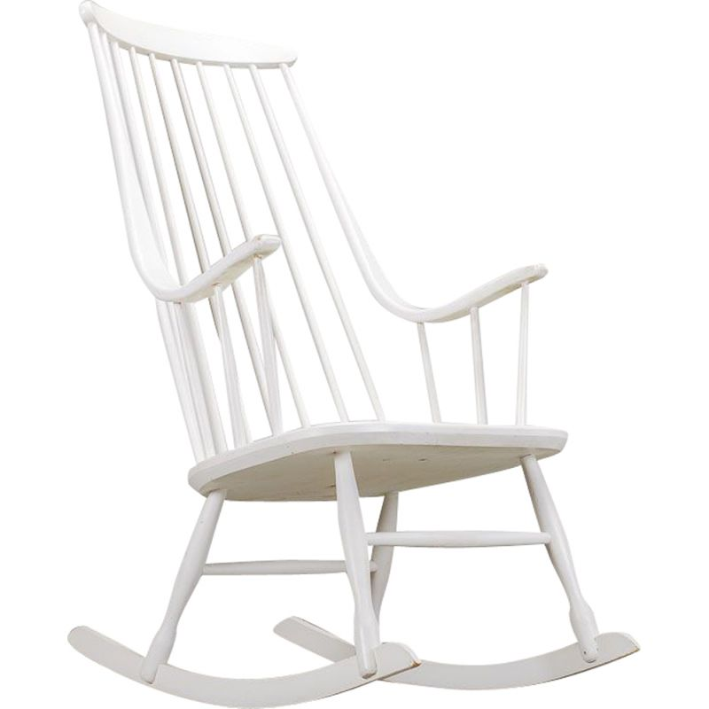 Scandinavian vintage rocking chair by Lena Larsson for Nesto, 1960s
