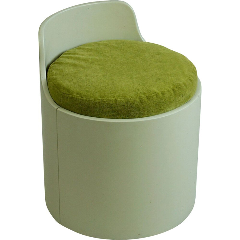 Italien white lacquered vintage stool, 1960s