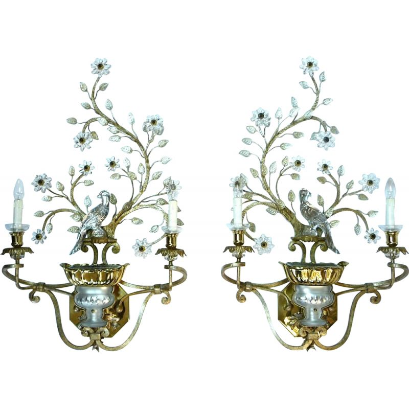 Set of 2 large italian gilt metal and crystal glass wall lamps by Banci Firenze, 1960s