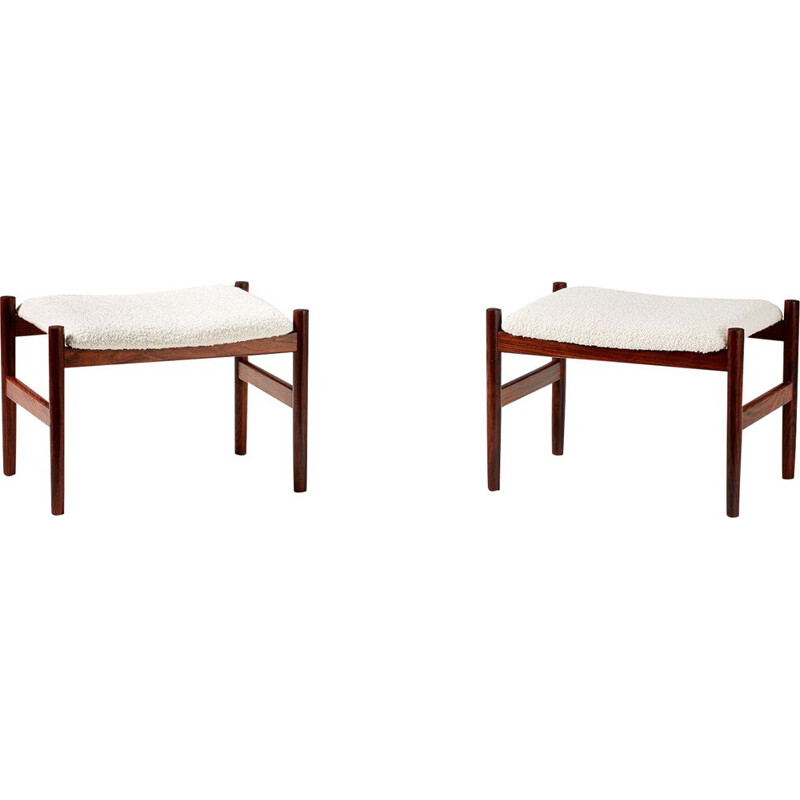 Pair of rosewood danish vintage stools, 1960s