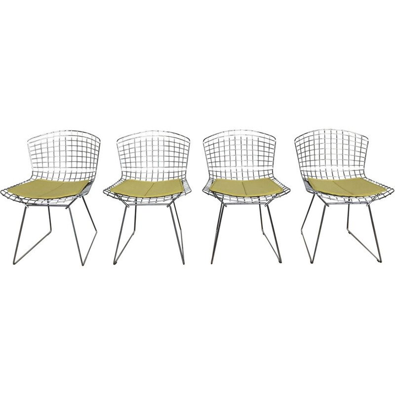 Set of 4 vintage chairs with yellow cushion by Harry Bertoia for Knoll, 1970