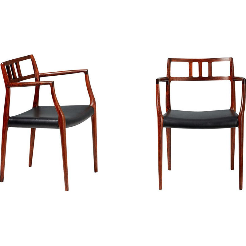 Pair of rosewood vintage armchairs of Niels Moller, Model 64, 1966