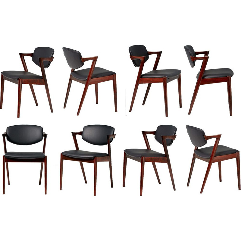 Set of 8 Kai Kristiansen Model 42 Rosewood Dining Chairs, 1956