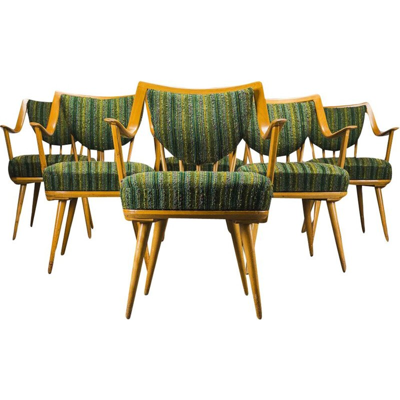 Set of 6 german beech vintage armchairs from Casala, 1950s