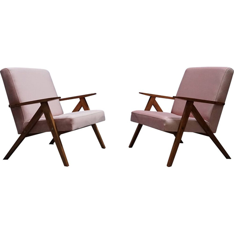 Pair of Easy Chairs in pink champagne velvet, 1960