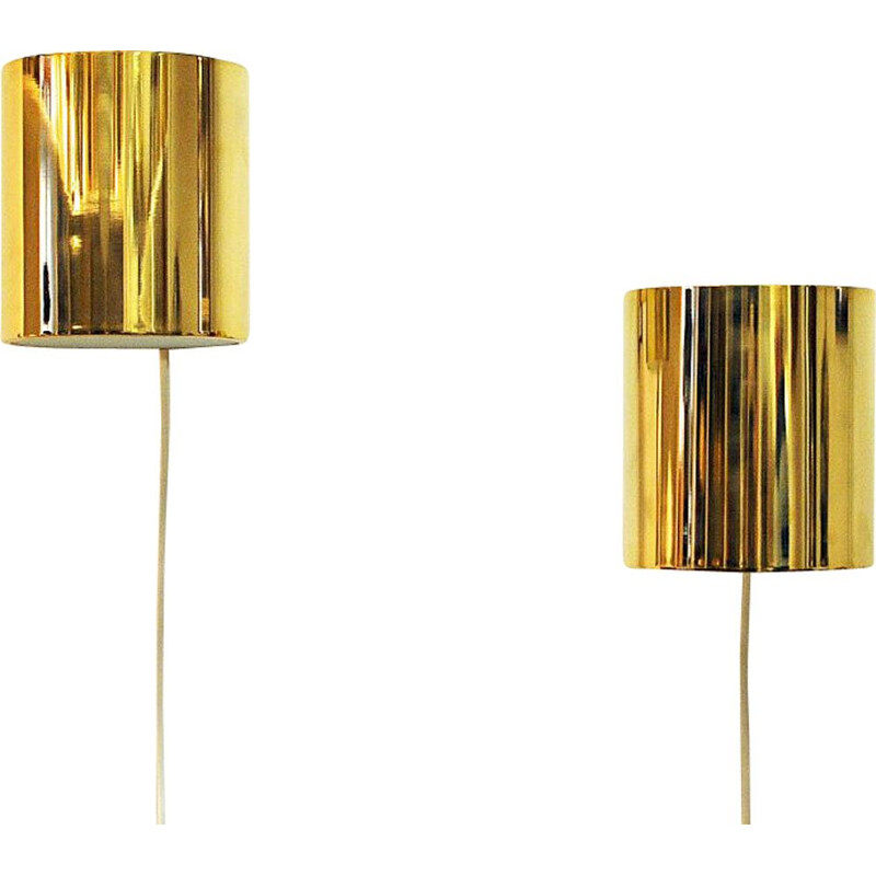 Vintage pair of relieffglass & brass wall lamps by Falkenberg, Sweden 1960s