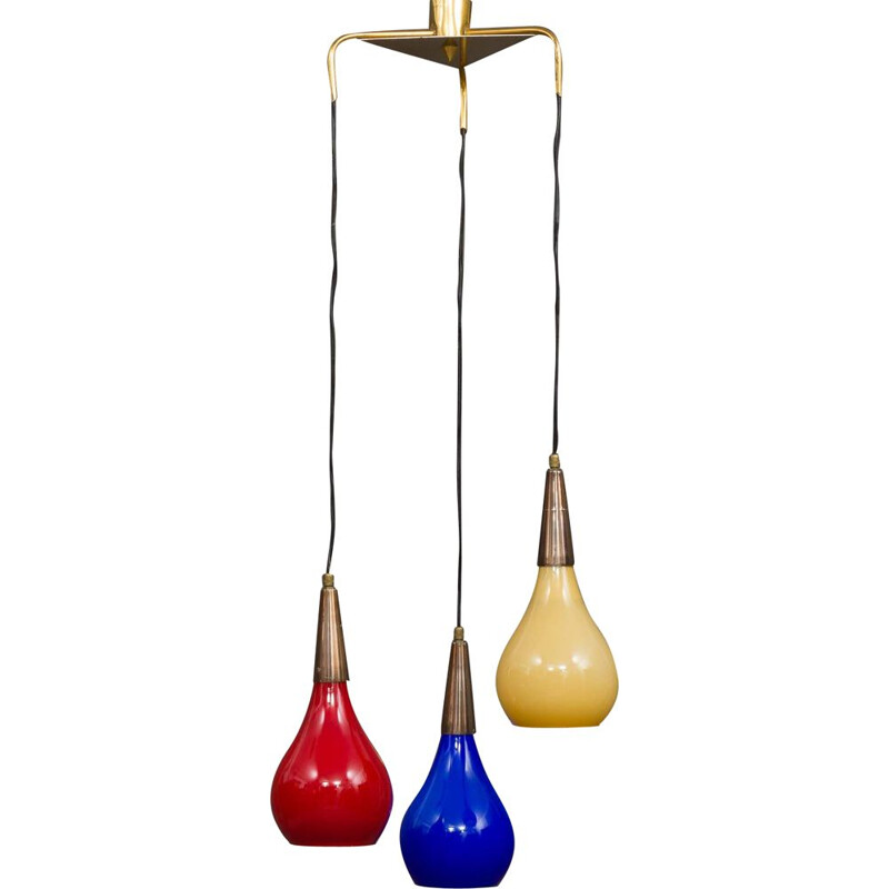 Vintage three colours Murano glass and brass chandelier by Vistosi