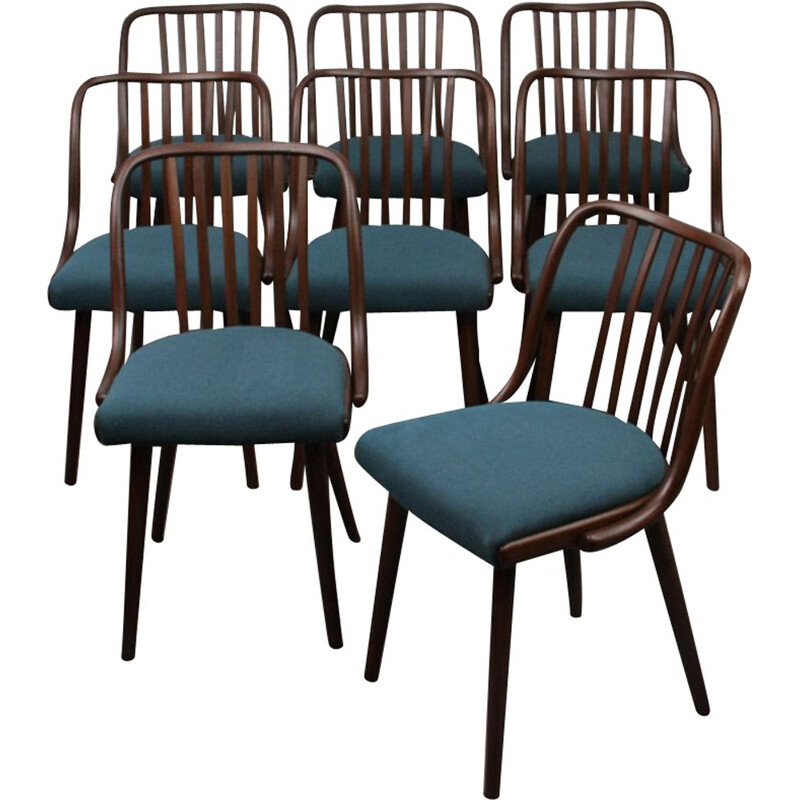 Suite of 8 vintage chairs by Antonin Suman for Jitona, 1960s