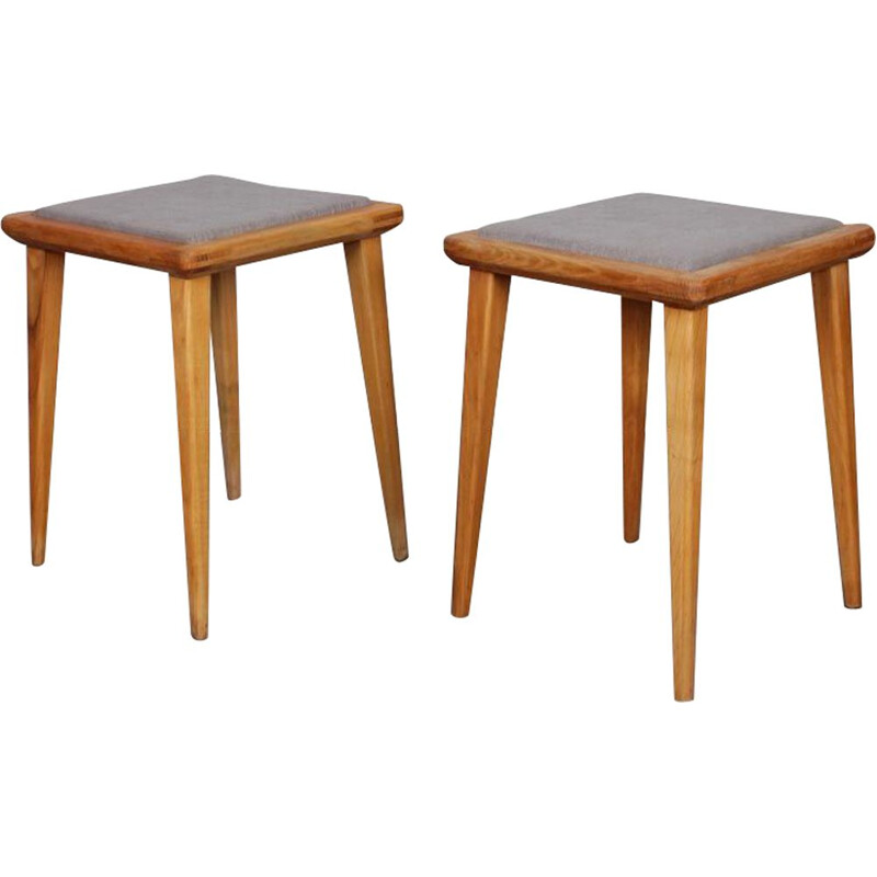 Set of 2 vintage stools by Franciszek Aplewicz for LAD, 1960s