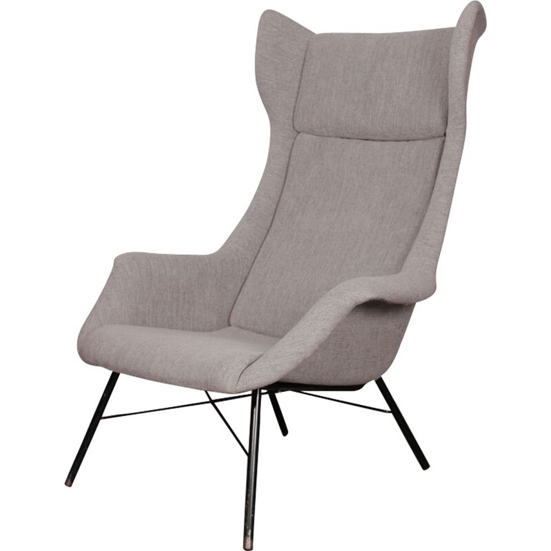 Vintage grey armchair by Miroslav Navratil for Ton, 1960s