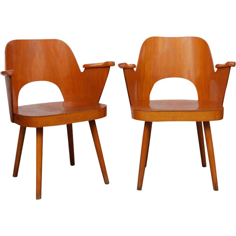 Set of 2 vintage armchairs by Oswald Haerdlt for Ton, 1960s