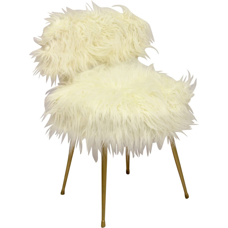Vintage white Pelfran chair, France, 1970s