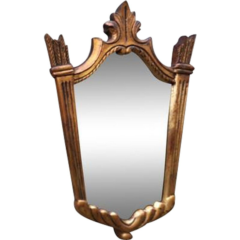 Vintage mirror in carved wood with gilding, 1950s