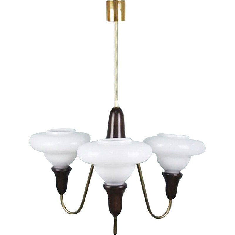 Vintage opaline, brass and wooden chandelier, 1940s