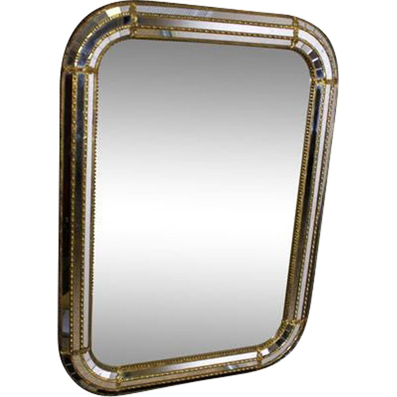 Vintage mirror with facets and galzing bead in gilded brass